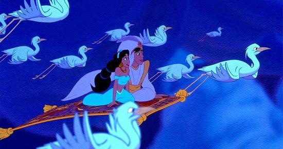 Aladdin and jasmine on the flying carpet for Aladdin carpet ride scene